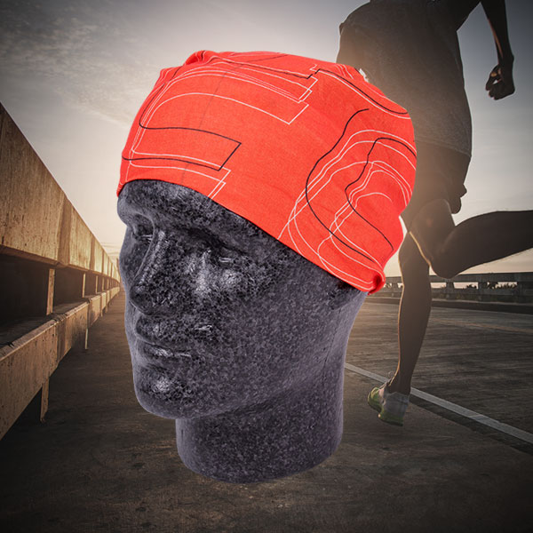 <p>Dummy wearing Multi X-Tube in orange as a cap</p>