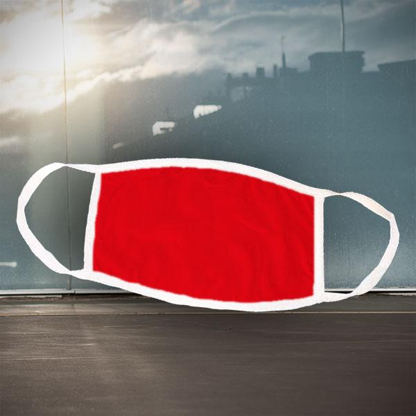 Mund- und Nasen-Maske - weiß rot - Einfarbige rote Maske für nachträgliche Bedruckung