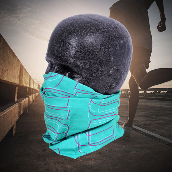 <p>Dummy wearing Multi X-Tube in teal as a mask</p>