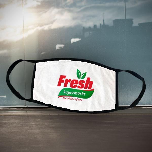 Mund- und Nasen-Maske - Supermarkt - Schwarze Maske mit Supermarkt-Logo