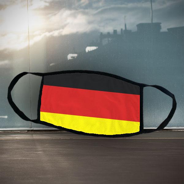 Mund- und Nasen-Maske - Deutschland - Schwarze Maske mit sublimierter Deutschland-Flagge