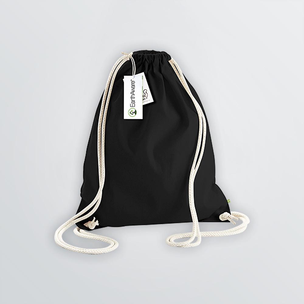 Baumwoll Gymbag bedruckbar in Beispielfarbe schwarz mit Kordeln in natur
