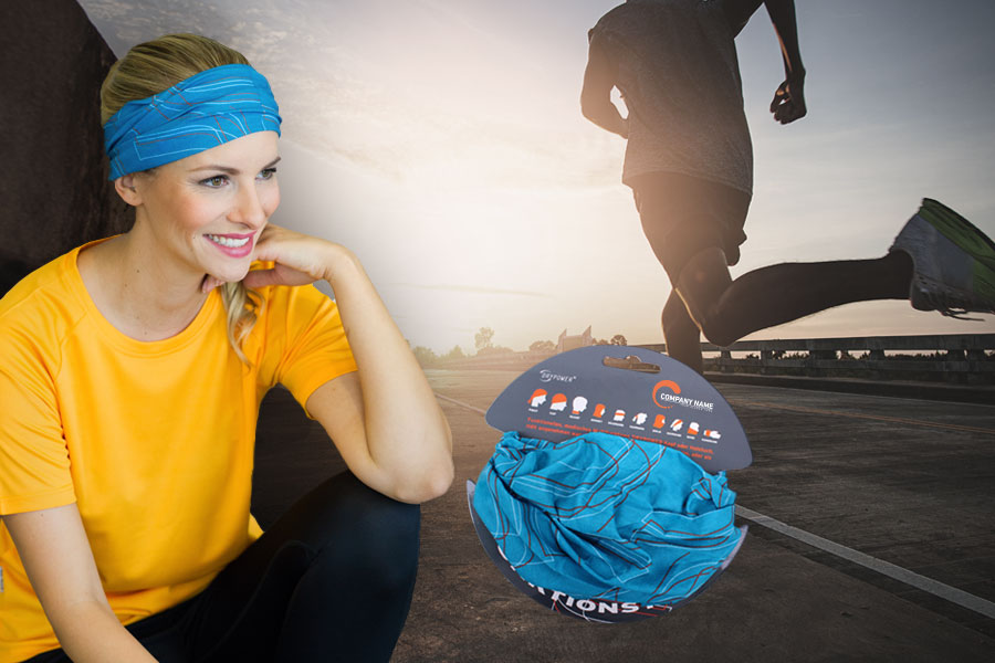 Model wearing a blue Multi X-Tube as an headband