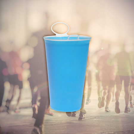 Runners Cup - Reusable soft cup for runners with strap - ideal for Marathon races