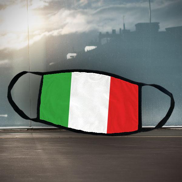 Maske - Italien - Schwarze Maske mit sublimierter Italien-Flagge