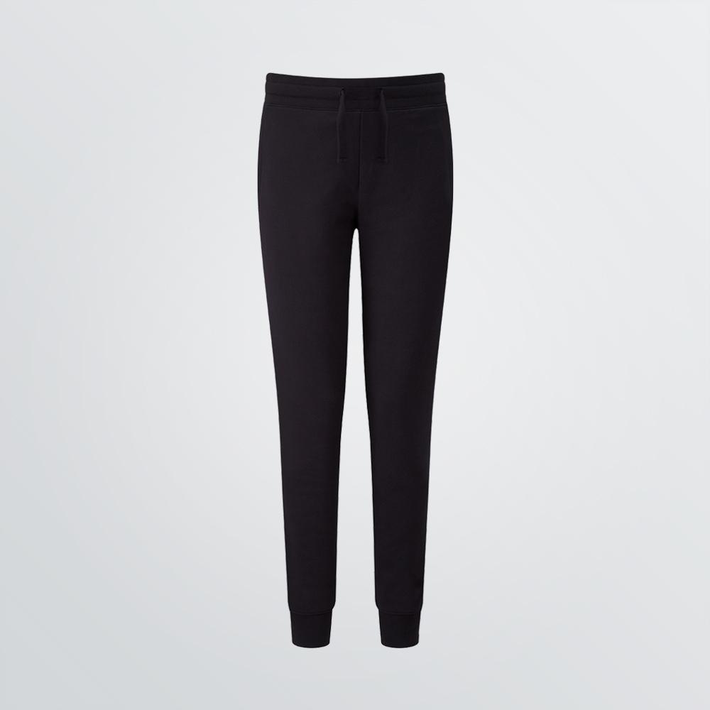 Lange Jogginghose aus Baumwolle mit elastischem Bund und Seitentaschen als Produktbeispiel in schwarzer Farbe - Frontansicht