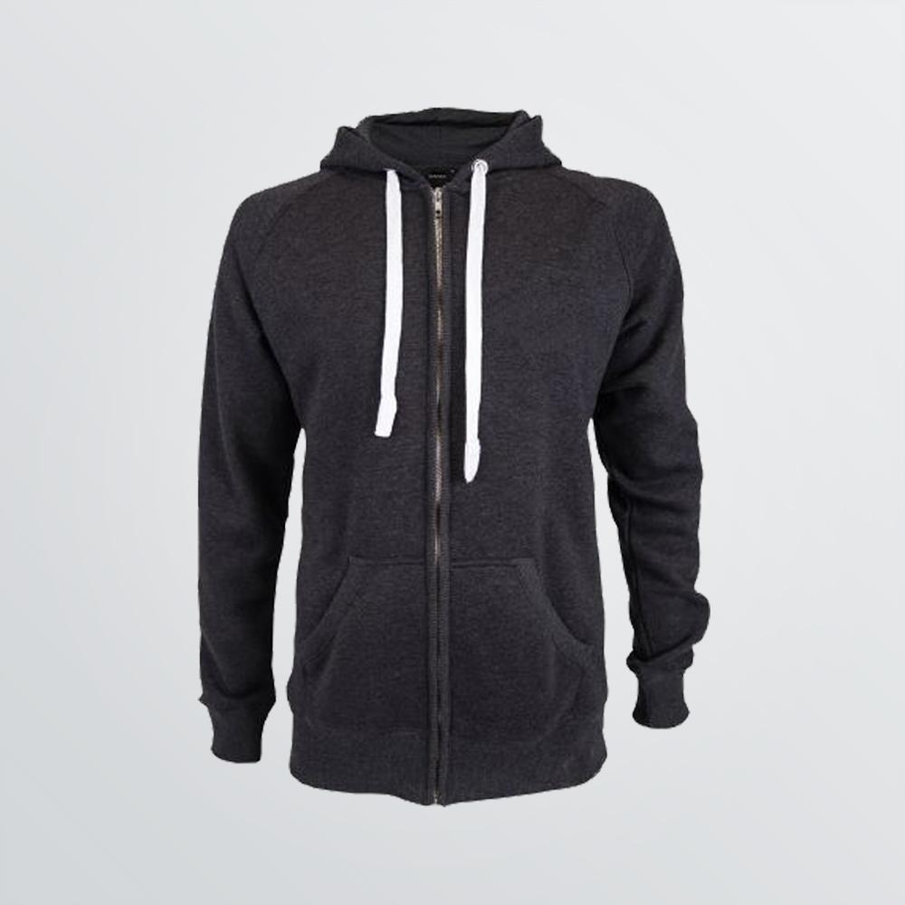 Basic Cotton Jacket mit Kapuze zum Individualisieren als Produktbeispiel anthrazit-melange und weißen Kordeln - Frontansicht