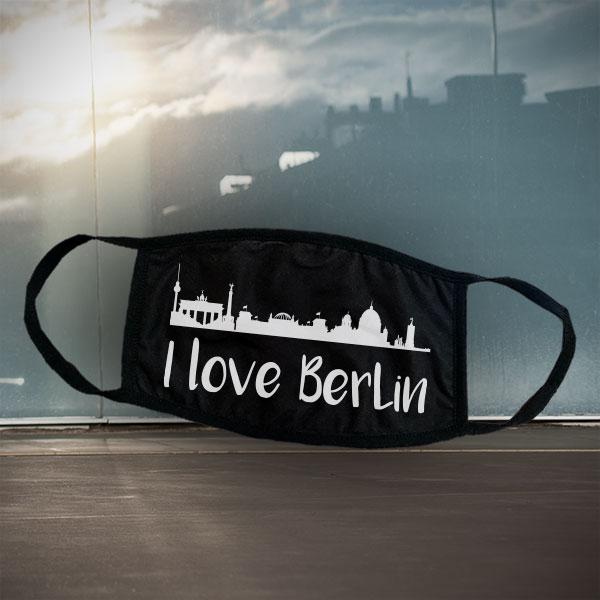 Mund- und Nasen-Maske - Berlin - Schwarze Maske mit Stadtsilhouette Berlin