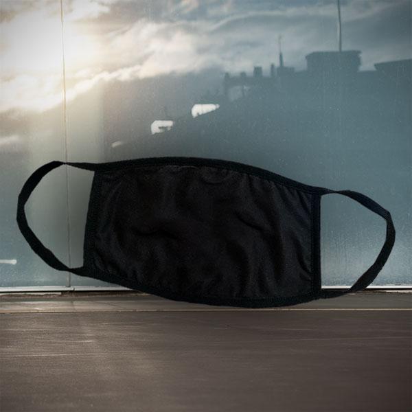 Mund- und Nasen-Maske - Schwarz - Einfarbige schwarze Maske zum nachträglichen Bedrucken - Siebdrucktransfer