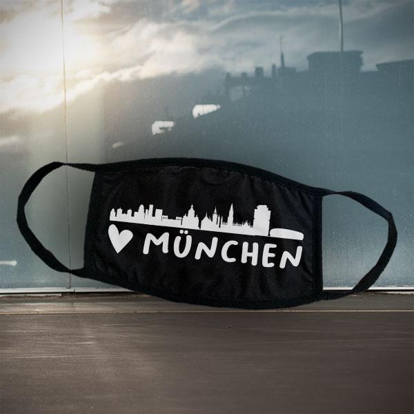 Mund- und Nasen-Maske - München - Schwarze Maske mit Stadtsilhouette München