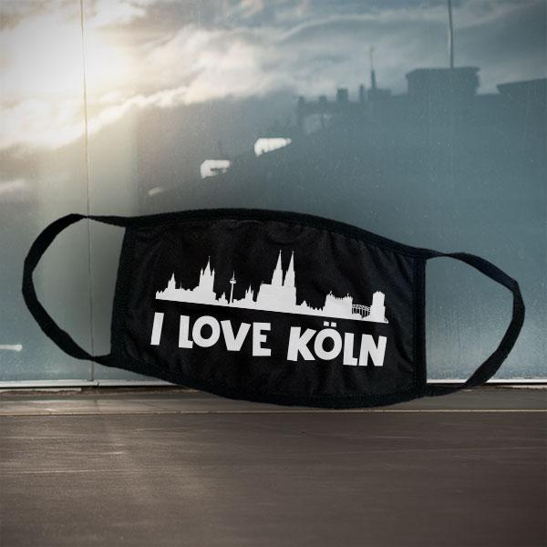 Mund- und Nasen-Maske - Köln - Schwarze Maske mit Stadtsilhouette Köln