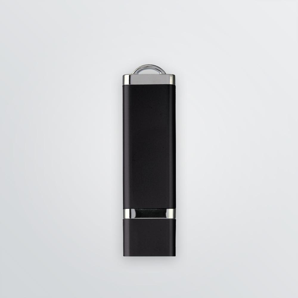 Produktbeispiel: Schwarzer USB-Stick aus Kunststoff zum Bedrucken