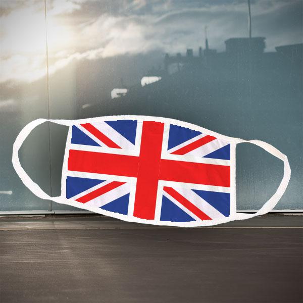 Mund- und Nasen-Maske - United Kingdom - Weiße Maske mit sublimierter UK-Flagge