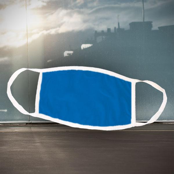 Mund- und Nasen-Maske - weiß blau - Einfarbige blaue Maske für nachträgliche Bedruckung