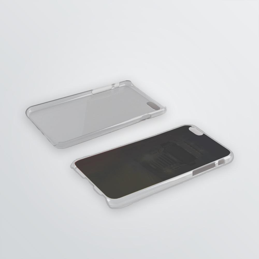 Handyhuelle aus transparentem Silikon und schwarzer Rueckseite zum Bedrucken