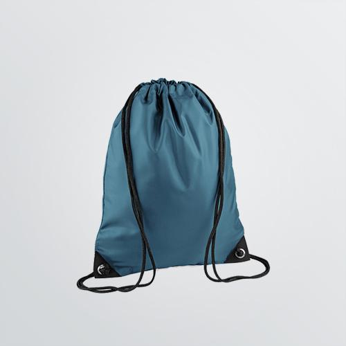 Bedruckbarer Gymbag Basic als Farbbeispiel petrol mit Kordeln - Komplettansicht