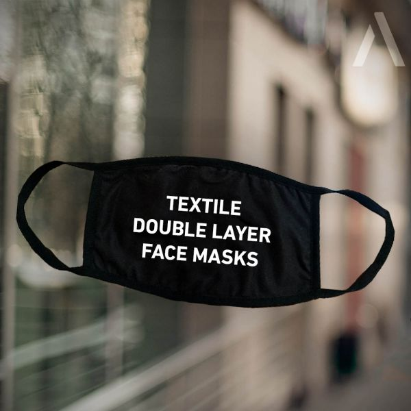 "<p>black face mask with imprint ""textile doublelayer face masks""</p>"