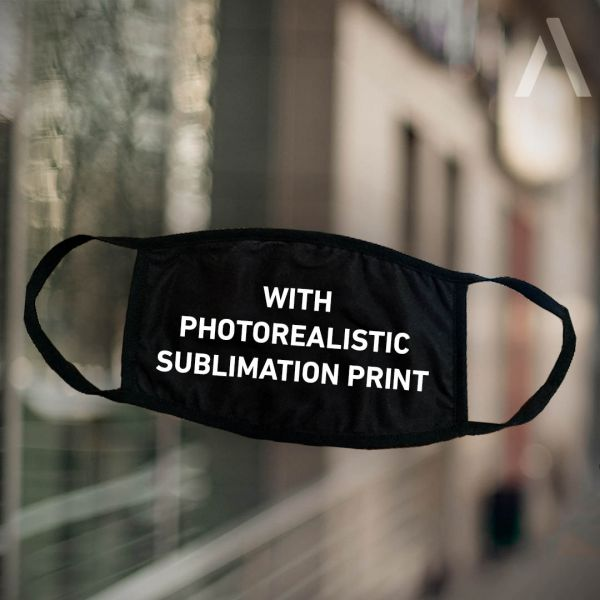 "<p>black face mask with imprint ""with photorealistic sublimation print""</p>"