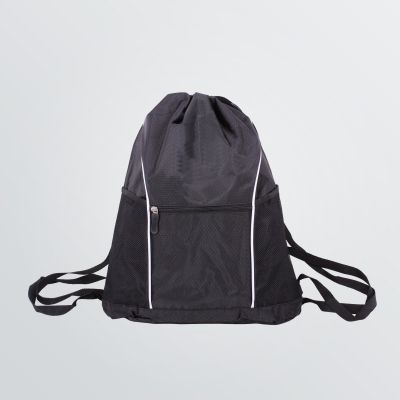 customisable Roadstar Gymbag with front pocket and mesh-pockets - black colour