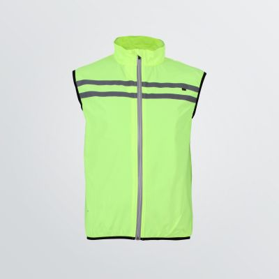 breathable Basic Sport Vest for customisation as a product example in neon yellow colour with reflectores - front view