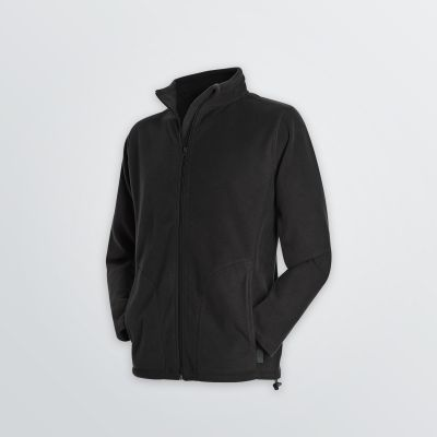 light weight Basic Fleece Jacket for customisation as a product example in black colour - side view