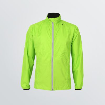 customisable Basic Sport Jacket made of breathable and wind resistant functional fabric depicted as a product example in neon green colour - front view