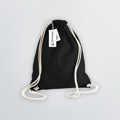 printable Cotton Gymbag in black colour example with cords in nature