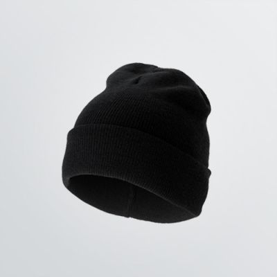 Winter Benaie or Beanie made of your desired material for customisation - product example in black colour
