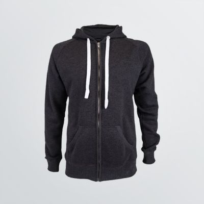 custsomisable Basic Cotton Jacket with hood depicted as a product example in anthracite-melange colour and white cords - front view