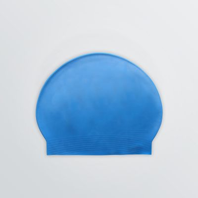 slip-proof swim cap printable either made of silicone or latex - product example in blue colour