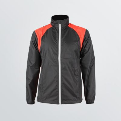 bi-coloured Cross Sport Jacket made of wind resistant functional material for customisation depicted as a  product example in black and red colour
