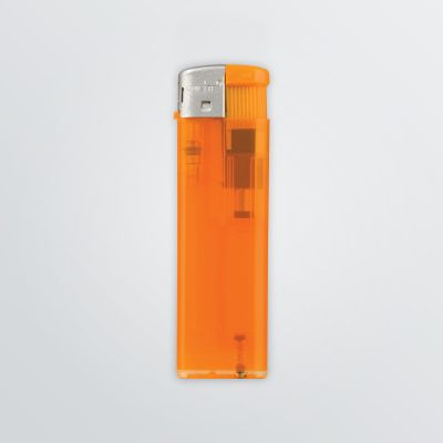 customisable electric lighter made of transparent plastic in orange colour