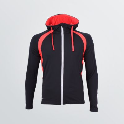 light weight Thermo Jacket for customisation depicted as a product example in black colour with red cords and shoulder panels - front view