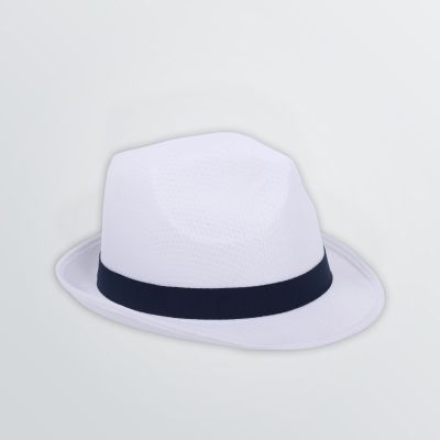Promo Hat for customisation with white hatband in navy - side view left
