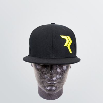 customisable Wool Cap depicted as a product example in a six Panel style in black colour with yellow embroidery on the front