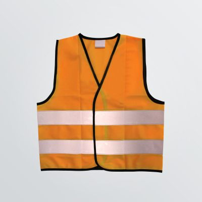 customisable Signal Vest as a classical safety vest in signal colours - depiction in orange with reflector stripes - front view