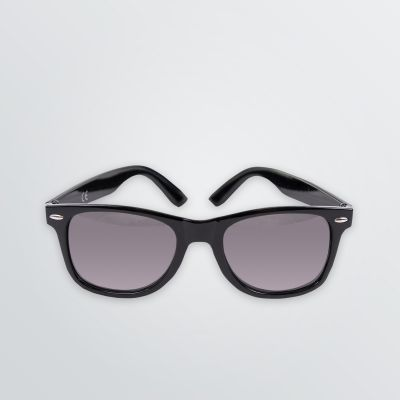 sunglasses with black plastic frame and tinted glasses for customisation