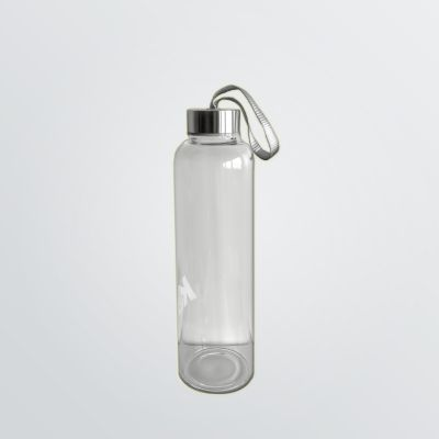 customisable glass bottle made of shatterproof glass with stainless steel lid and neoprene cover