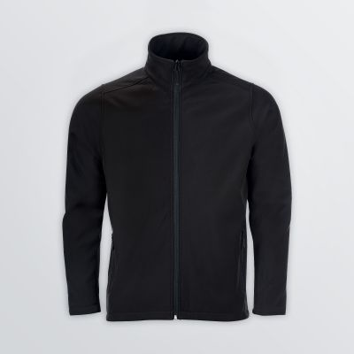 wind and water resitsant Basic Softshell Jacket for customisation in black colour example - front view