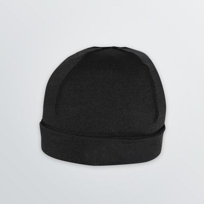 light weight and breathable Sport Beanie made of stretch fleece for customisation in black colour example