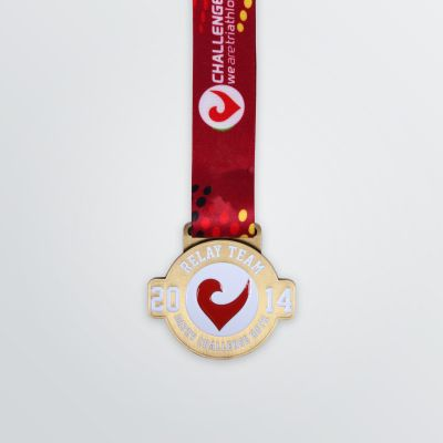 example of a circular shape medals with logo imprint and red coloured strap