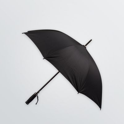 product example black umbrella with soft-touch plastic handle and branding options
