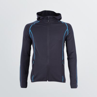 customisable Space Jacket depicted as a product example in male fitting and black colour with blue flatlocks - front view