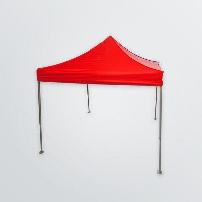set up customisable  tent with folding frame made of aluminum in the colour red