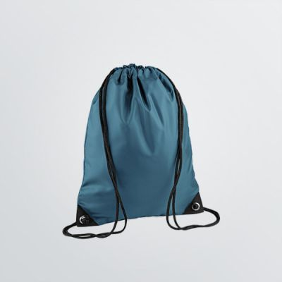 printable Basic Gymbag in petrol coloured product example with cords - front view