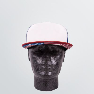 customisable Trucker Cap in five panel style - depicted as a product example in USA design with mesh panels on the back and flat brim