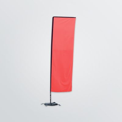 customisable square beachflag to set up in front view colour example red